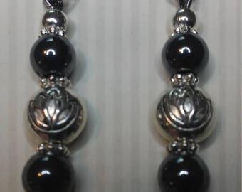 Gunmetal Dangle Earrings, Pierced Earrings, Drop Earrings, Metal & Glass Beaded Earrings, Silver Earrings, Steampunk Earring, Womens Earring