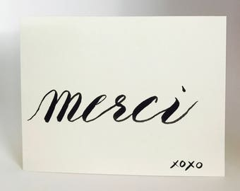Merci, French Greeting Card, Cursive Greeting, Hand Written, Thank You, Handwritten Gift Card