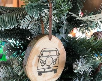 Handmade wooden tree ornament - camper van