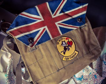 Vintage military canvas shoulder bag, handpainted with Union Jack & patch