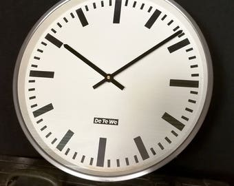 Vintage station watch wall clock DeTeWe - restored with new Quartz Movement
