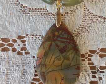 Picasso Jasper teardrop pendant beaded necklace