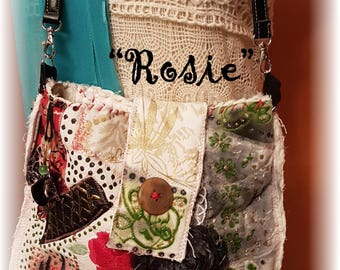Hippy BoHo Handsewn Upcycled Crossbody BAG Antique Barkcloth Velvet Beads Gift Boxed Numbered Named .this is Rosie # 004 OOAK