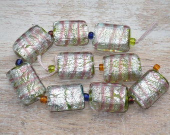 Rectangle Pink Stripe, Green and Grey Foil Lampwork Glass Beads 9pcs.