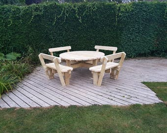 Round Garden Picnic Table / Bench Set with Back Rests