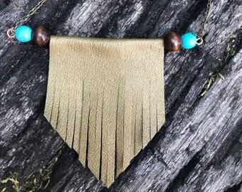 Genuine Leather Metallic Gold Bib Necklace