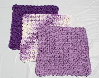 Crocheted Cotton Kitchen Cloth Set in Purples