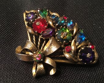 Vintage Weiss Multicolor Fan Brooch