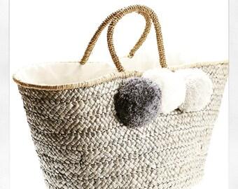Lux Grey Pom Pom Basket