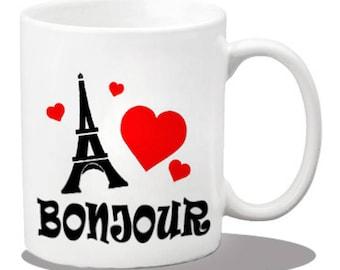 paris mugs, ceramic coffee mugs, paris gift items, printed coffee mugs, paris gifts, bonjour mugs, bonjour gifts, birthdays, eiffel tower