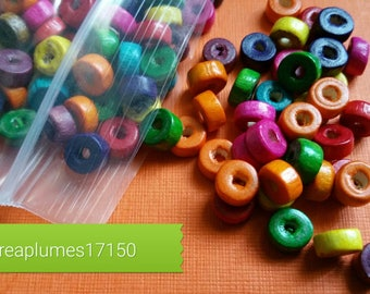 Set of 200 multicolored wooden beads 8x3mm