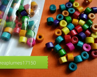 Set of 200 multicolored wooden beads, 5x4mm