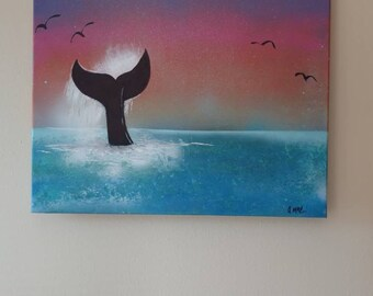 Whale tail wall art