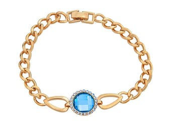 14k Gold Filled Chain Bracelet with a Sky Blue Center Stone
