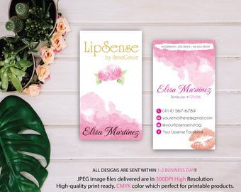 LipSense Business Card, Lip Sense Business Card, SenegGence Business Card, Lipsense Watercolor Business Card, Printable Digital LSS02