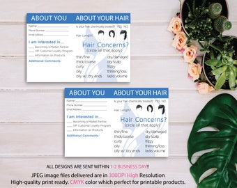 Customer Information form, Monat Event Questionnaire, Hair type, style, partner request, Monat About Your Hair Cards, Instant Download MN19