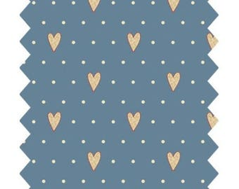 FABRIC BLUE YELLOW GUTERMANN CLEAR HEARTS