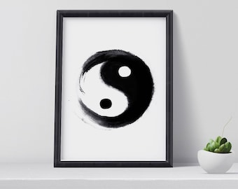 Yin yang poster etsy for Decoration murale yin yang