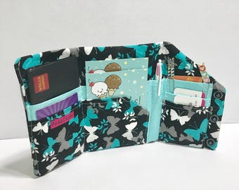 SALE - Organizer wallet,  LAST one | Bill Organizer, Passport wallet, Grey teal white Butterfly wallet