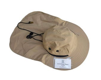 Khaki Safari Explorer Bucket Hat with Pockets