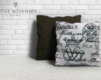 Parisian Script and Black Pillows