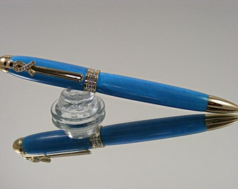 Handmade Breast Cancer Awareness Ink Pen in Gold and Blue Acrylic