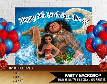 Personalized Moana Maui Backdrop Birthday Party Background Party Backdrop Table Setting Ocean is Calling Printable DIY - Digital File