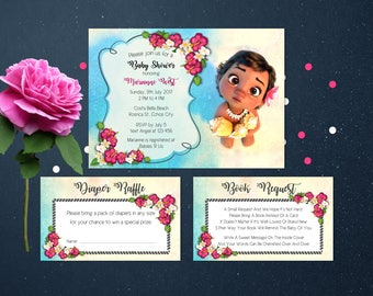 Personalized Baby Moana Baby Shower Invitation Invite Party Hawaiian Book Request Diaper Raffle Beach Party Printable DIY - Digital File