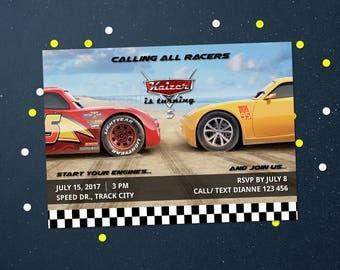 Personalized Cars 3 Birthday Party Invitation Invite Printable - Lightning Mcqueen Jackson Storm DIY Birthday Parties