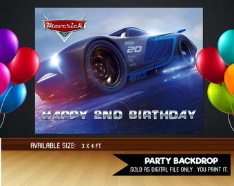 Personalized Cars 3 Jackson Storm Backdrop Birthday Banner Sign Party Background Table Setting Race Racing Printable DIY - Digital File