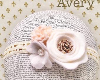 Avery Design l Felt Flower Headband l Toddler Floral Headband l Newborn Headband l Newborn Photography l Gold Arrows l Hippie Headband