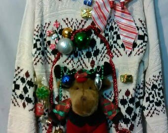 Let's Party Tacky Ugly Christmas Sweater Men Size Tall Large / XL Handmade
