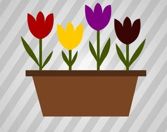 Flower Pot Silhouette - Svg Dxf Eps Silhouette Rld RDWorks Pdf Png AI Files Digital Cut Vector File Svg File Cricut Laser Cut