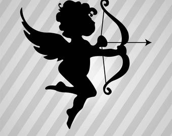 Cupid Silhouette Romantic Angel - Svg Dxf Eps Silhouette Rld RDWorks Pdf Png AI Files Digital Cut Vector File Svg File Cricut Laser Cut