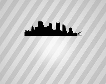 pittsburgh skyline Silhouette - Svg Dxf Eps Silhouette Rld RDWorks Pdf Png AI Files Digital Cut Vector File Svg File Cricut Laser Cut