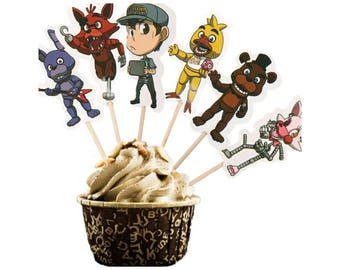 12 Five Nights at Freddy's Cupcake Toppers with Picks ~ FNAF Birthday Party Supplies Favors
