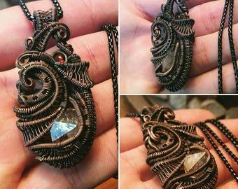 Copper Pendant with smoky quartz, garnet & aquamarine