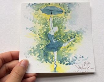 Ballerina and Umbrella 5x5 Watercolor