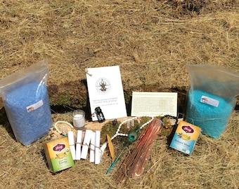 Handmade Personalized Meditation Kit- Zodiac Element Kit-Crystals- Incense- Mala Beads- Essential Oils- Tea- Bath salts- Birthday Gift