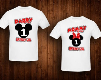 family shirts red bow minnie mouse birthday theme mom of the birthday girl dad of the birthday girl