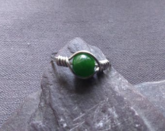 handmade surgical steel Wire Wrapped Silver Ring with green Emerald Gemstone ANY SIZE.