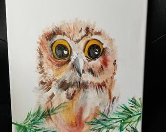 Hand painted cute owl painting