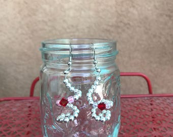 Corkscrew beaded earrings, Swarovski crystal accent, silver and pink colored glass beads. Keep away from children. Canning jar not included