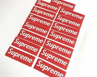 """Red """"Supreme"""" mini stickers"""