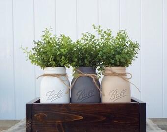 Mason jars with planter box,Mason jars with greenery,neutral tone Mason jars,Mason jar decor,Mason jar centerpiece,wedding decor,baby shower