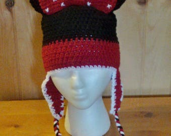 Minnie Mouse Earflap Hat with Braids