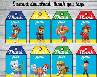 Paw Patrol thank you tags, Paw patrol birthday,, paw patrol Party Printable,paw patrol, paw patrol thank you cards, INSTANT DOWNLOAD,