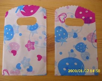 "set of 10 bag gift ""strawberries and stars"" 9 X 14 cm"