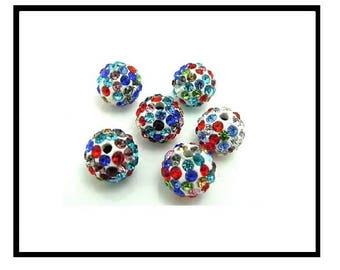X 10 pearls shamballa 10mm, white and multicolor rhinestone crystal.