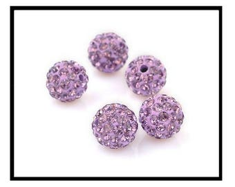 X 10 pearls shamballa 10mm purple pastel rhinestone crystal.